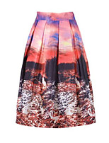Women's Print Red Skirts,Casual / Day Knee-length
