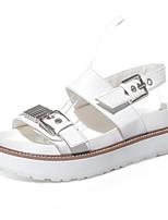 Zapatos de mujer-Plataforma-Creepers / Punta Redonda / Punta Abierta-Sandalias-Vestido / Casual-Semicuero-Negro / Blanco