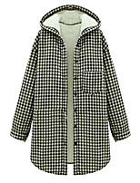 Women's Plaid Pink / Black Coat,Simple Long Sleeve Polyester