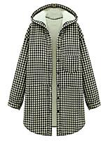 Women's Plaid Pink / Black Coat,Simple Long Sleeve Polyester