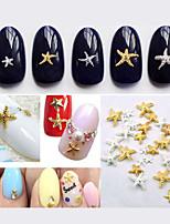 50pcs New Cute Gold Silver Starfish Nail Art Studs DIY 3D Alloy Nail Beauty Accessories Decoration