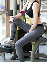 Pantalones de yoga Medias Transpirable / Compresión Cintura Media Alta elasticidad Ropa deportiva Gris / Negro Mujer OtrosYoga / Pilates