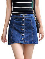 Women's Solid Blue Skirts,Vintage / Casual / Day Mini