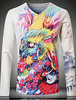 Men's Long Sleeve T-Shirt,Cotton Casual Print