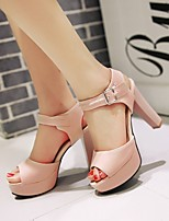 Women's Shoes Leatherette Chunky Heel Peep Toe Sandals Outdoor / Dress / Casual Blue / Pink / White
