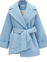 Women's Solid Blue / Pink Coat,Simple Long Sleeve Wool