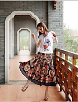 Women's Floral Multi-color Skirts,Vintage / Casual / Day Maxi