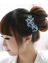 Blue Peacock Hair Combs Rhinestone Wedding/Party Headpiece Hair Comb for Wedding Party Hair Jewelry