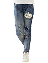 Girl's Cotton Summer Crown Cartoon Pattern Stretchy Jeans