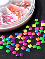 Fashion DIY 6 Colors 2-3mm Neon Rivet Round Square Metallic Studs Rhinestone Fashion 3d Nail Art Decoration