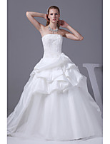 A-line Wedding Dress-Ivory Chapel Train Strapless Satin / Tulle
