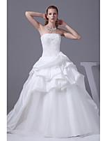 웨딩 드레스-아이보리(색상은 모니터에 따라 다를 수 있음) A 라인 채플 트레인 튜브탑 사틴 / 튤
