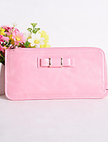 Sweet Style Butterfly Knot Side Zip Candy Colored Long Horizontal Thin Multi-Card Bit Card Package Lady Wallet