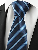 KissTies Men's Classic Striped Dark Blue Microfiber Tie Necktie For Formal Business Holiday With Gift Box
