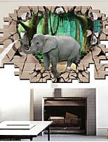 Elephant Animals / Cartoon Wall Stickers 3D Wall Stickers,PVC 90*60cm