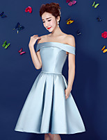 Cocktail Party Dress-Sky Blue Ball Gown Off-the-shoulder Knee-length Satin