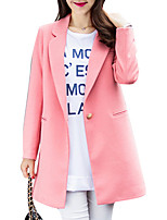 Women's Solid Pink / Red / Yellow Pea Coats,Simple Long Sleeve Wool