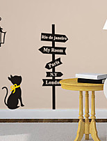Exquisite Black Cat PVC Wall Sticker Wall Decals with Transfer Film