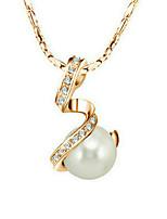 Femme Pendentif de collier Bijoux Plaqué or Amour Imitation de perle Or Bijoux Pour Mariage Fiançailles 1pc