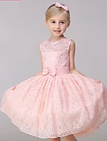 A-line Knee-length Flower Girl Dress-Lace Sleeveless