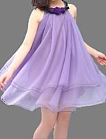 Vestido Chica de-Verano-Algodón-Rosa / Morado