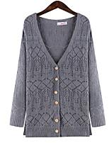 Women's Solid Blue / Gray Cardigan,Plus Size / Street chic Long Sleeve