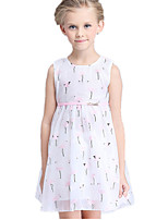 Girl's Blue / Pink Dress Cotton / Polyester Summer
