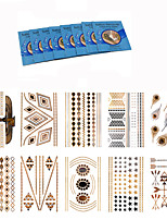 10Pcs Fashion Party Temporary Flash Metallic Tattoo Metal Texture Silver Golden Tattoo Sticker  +8Pcs Cleansing Wipes