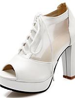 Zapatos de mujer-Tacón Robusto-Tacones / Punta Abierta-Tacones-Boda / Vestido / Fiesta y Noche-Semicuero-Negro / Rosa / Blanco
