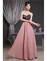 Floor-length Chiffon Bridesmaid Dress-Pearl Pink A-line Sweetheart