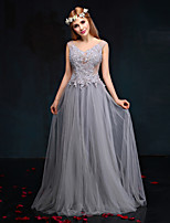 Formal Evening Dress-Silver Sheath/Column V-neck Floor-length Lace / Tulle