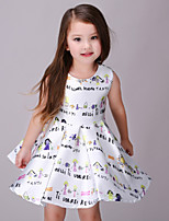 Girl's White Dress,Cartoon Polyester Summer