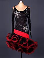 Latin Dance Dresses Women's Performance Chinlon / Organza Draped 1 Piece Red