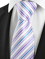 KissTies Men's Striped Blue Lavender Purple Microfiber Tie Necktie For Party Holiday With Gift Box