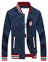 Men's Standing Collar Fashion Casual  Single Breasted Jacket Baseball Uniform Plus Sizes(Cotton)