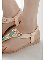Women's Shoes Flat Heel Sling back/Toe Ring/T-Strap/Open Toe Sandals Dress/Casual Green/White