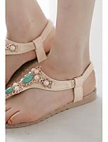 Zapatos de mujer-Tacón Plano-Tira en T / Talón Descubierto / Anillo Frontal / Punta Abierta-Sandalias-Vestido / Casual-Semicuero-Negro /