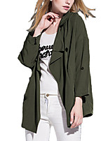 Women's Solid Gray / Green Trench Coat,Simple Long Sleeve Polyester