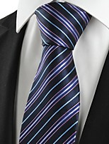 KissTies Men's New Striped Purple Black Microfiber Tie Necktie For Wedding Holiday With Gift Box