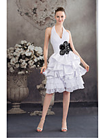Dress-Ivory Ball Gown Halter Knee-length Chiffon / Charmeuse