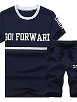 Men's casual summer sport suit size breathable cotton short sleeved blouse suit beach pants five tide