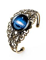 Lureme® Vintage Jewelry Time Gem Series Galactic System Antique Bronze Hollow Flower Open Bangle Bracelet for Women