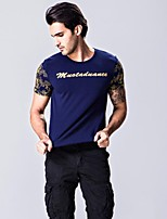 Men's Short Sleeve T-Shirt,Cotton Casual / Plus Sizes Print / Patchwork