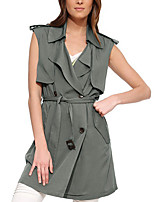 Women's Solid Green Coat,Simple Sleeveless Polyester