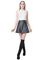Women PU Leather Skirt Beading High Waist Back Zipper Slim Pleated A-Line Skirt