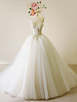 A-line Wedding Dress-Ivory Court Train Sweetheart Satin / Tulle