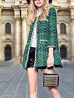 Women's Striped Red / Green Pea Coats,Simple Long Sleeve Wool