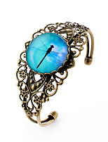 Lureme® Vintage Jewelry Time Gem Series Blue Sky with Dragonfly Antique Bronze Hollow Flower Open Bracelet for Women