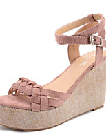 Women's Shoes Suede Wedge Heel Wedges / Open Toe Sandals Outdoor / Casual Black / Pink
