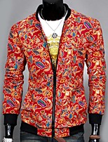 Men's Long Sleeve Jacket,Cotton Casual Print